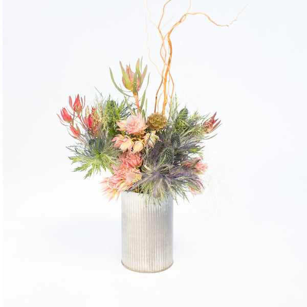 Blushing Bride and Leucadendron Bouquet in tin can