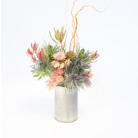 Blushing Bride, Blue Thistle and Leucadendron