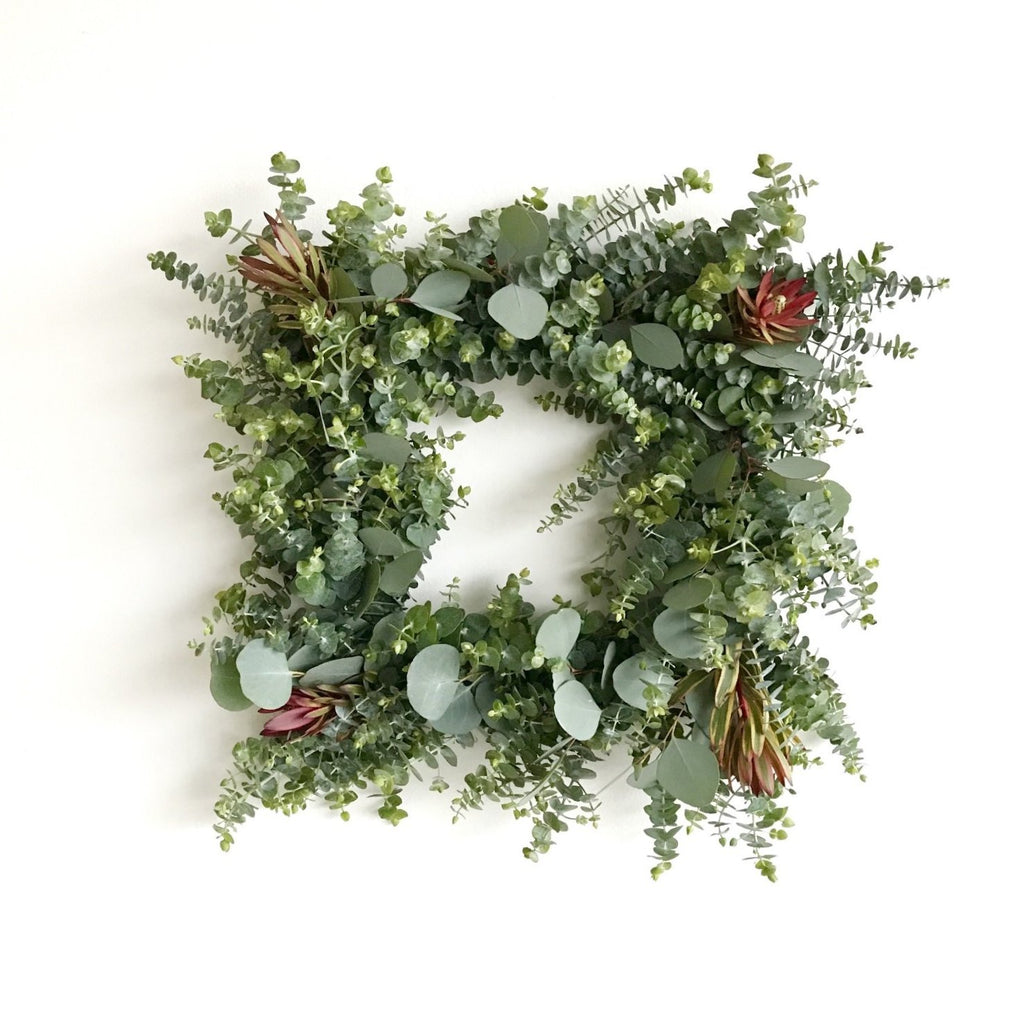Square Wreath | Baby Eucalyptus Wreath Square | Jester Leucadendron Wreath | Jester Wreat | Silver Dollar Wreath