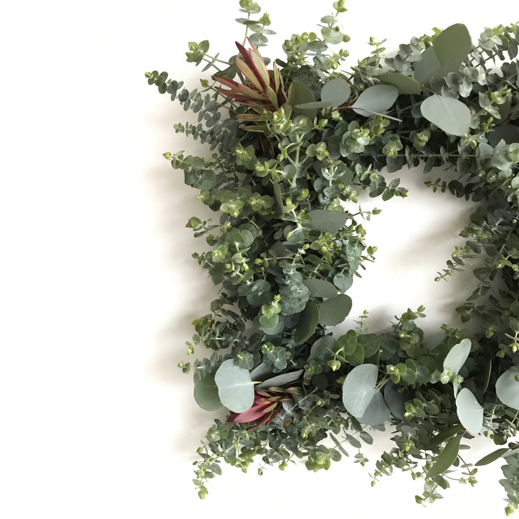Square Wreath for any season | Square Leucadendron and Eucalyptus Wreath | Red Leucadendron Wreath | Yellow Strip Leucadendron Wreath