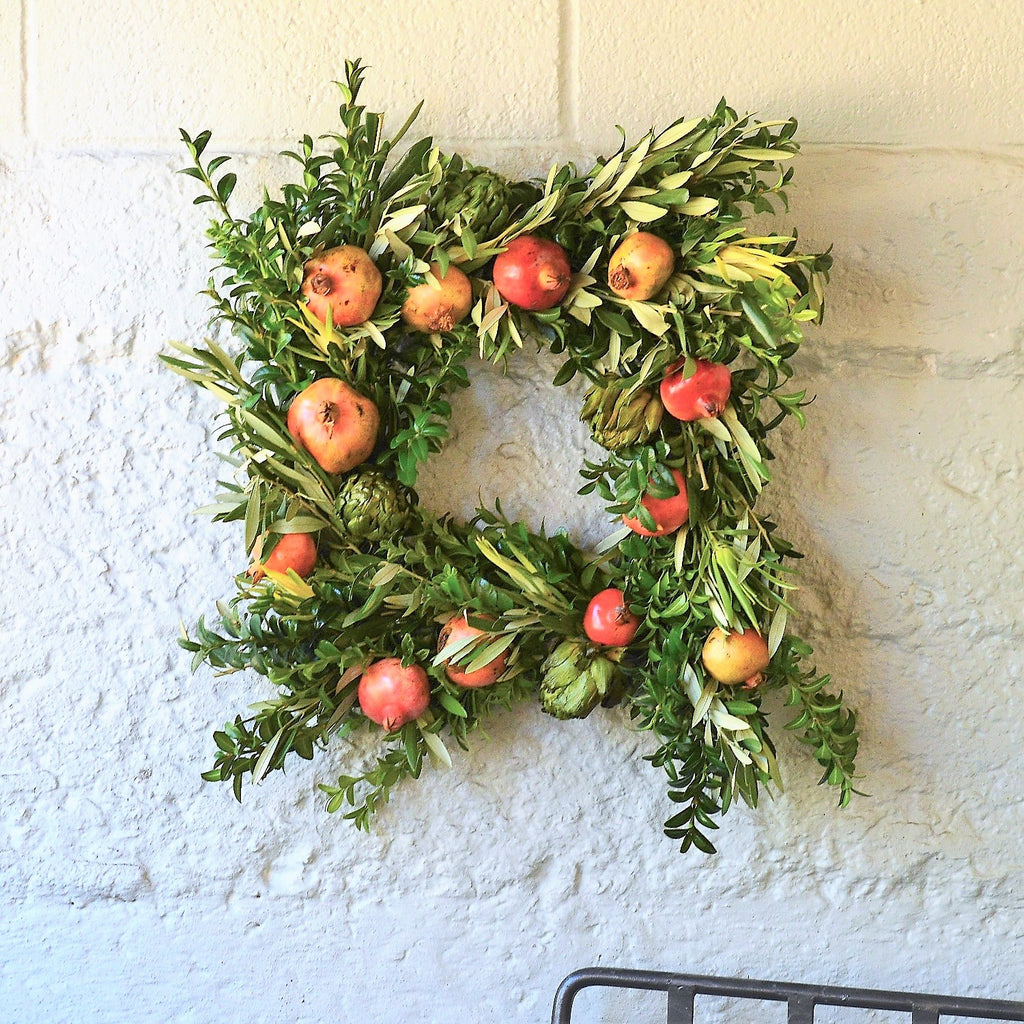 Lydia Artichoke Wreath | Pomegranate Wreath | Thanksgiving Wreath | Wreath for Thanksgiving | Olive Wreath | Green Boxwood Wreath | German Boxwood Wreath