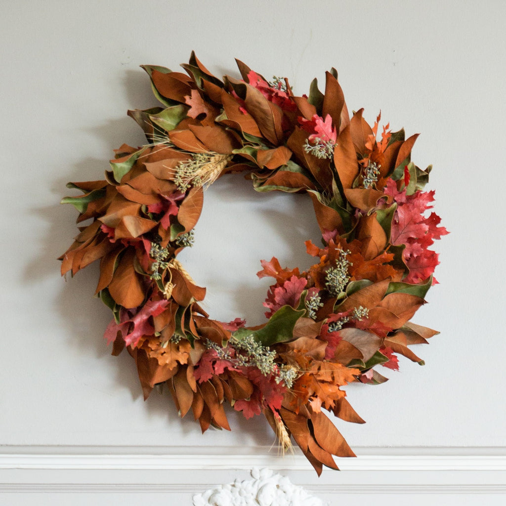| Magnolia and Red Oak Wreath | Club Botanic | Seeded Eucalyptus and Oak with Magnolia Wreath | Wreath with Seeded Eucalyptus and Magnolia Leaf and Preserved Red and Yellow Oak leaves | Dried Magnolia Leaf Wreath | Fresh Magnolia Leaf Wreath | Dried Oak Wreath