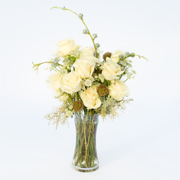 Congrats Flowers | Thank You Flowers | Congratulations Flowers | White Roses | Scabiosa Pods | White Astrantia
