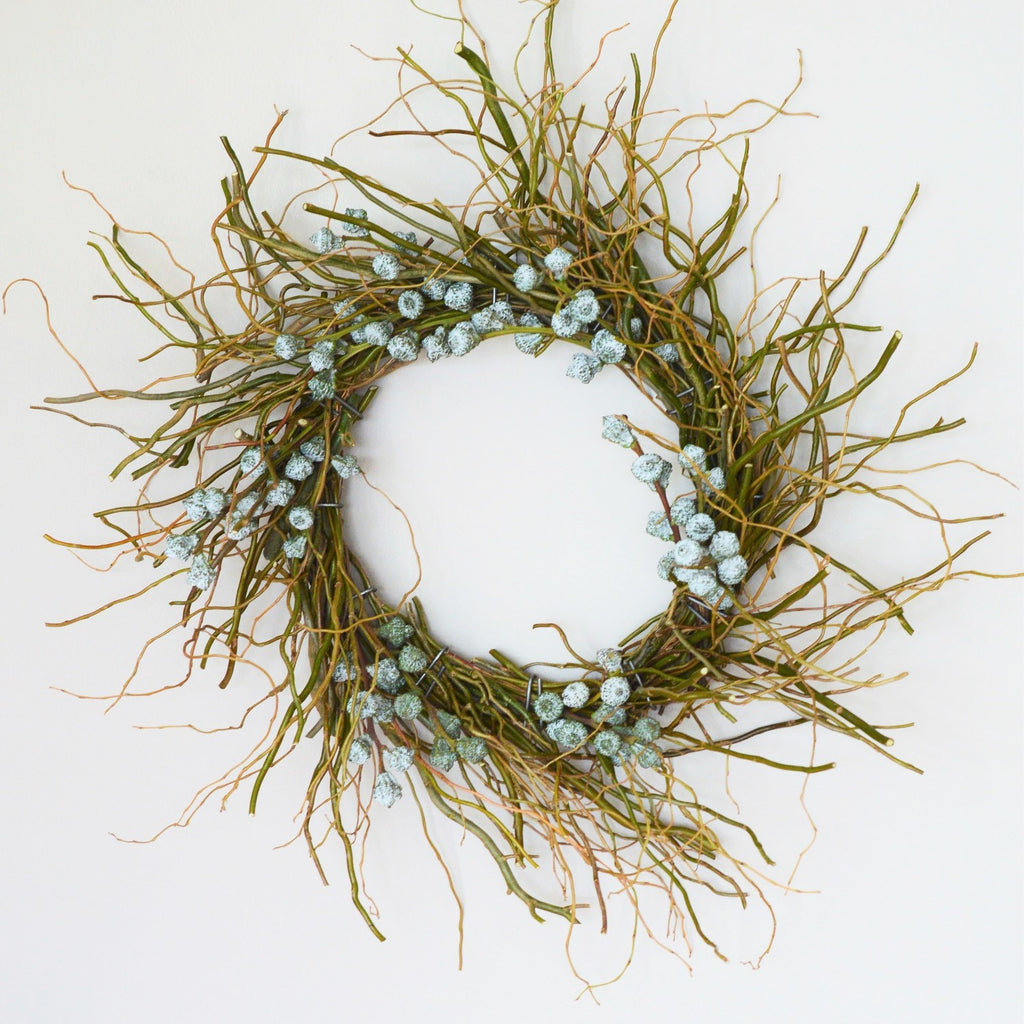 Mt. Tam Blue Eucalyptus Wreath | Club Botanic | Fresh Curly Willow Wreath | Fresh Twig Wreath | Fresh Eucalyptus Wreath Blue Bell Pod | Simple Wreath Fresh | Holiday Wreath Modern