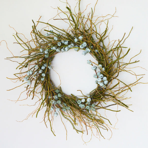 Mt. Tam Blue Eucalyptus Wreath | Club Botanic | Rustic Christmas Wreath | Twig Wreath for Christmas | Blue Bell Eucalyptus Wreath | Blue Bell Pod Wreath | Blue Bell Eucalyptus Pod Wreath with Curly Willow