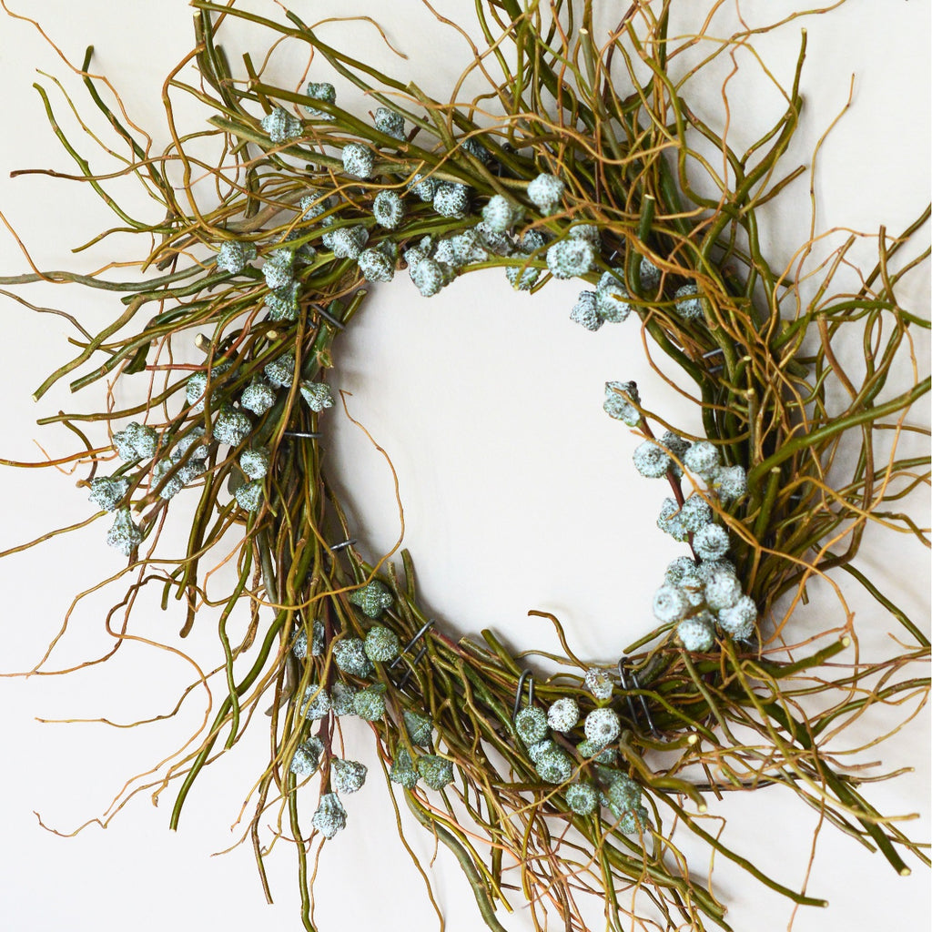 Mt. Tam Blue Eucalyptus Wreath | Club Botanic | Curly Willow Wreath | Blue Bell Pod Eucalyptus Wreath