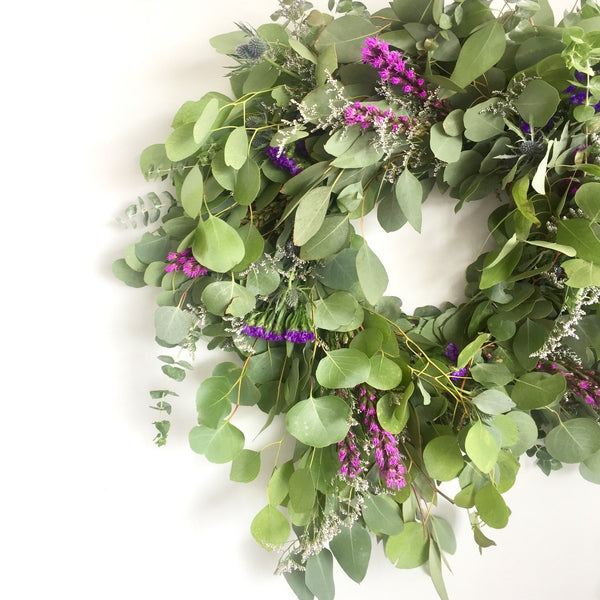 Silver Dollar Eucalyptus Wreath | Liatris Wreath | Liatris Feather Wreath | Caspia Wreath | Green Baby Eucalyptus Wreath | Violet Statice Wreath | Purple Statice Wreath
