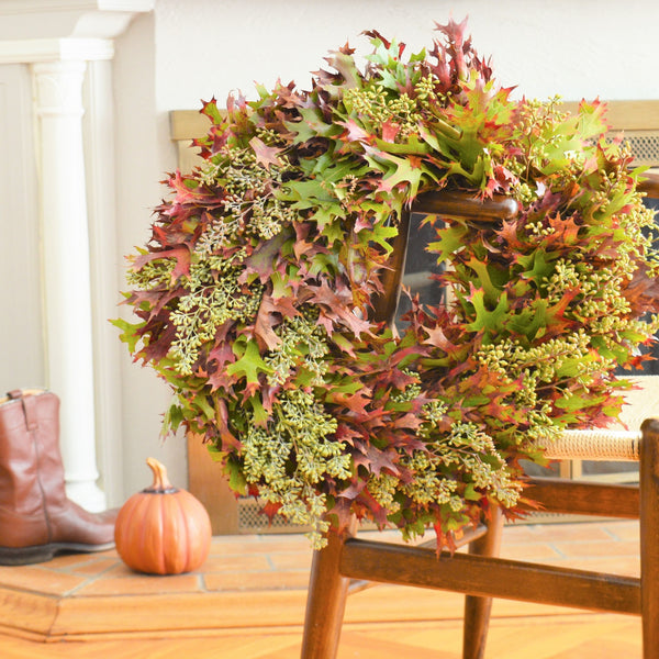 Oak Wreath | Eucalyptus Wreath | Door Wreaths for Fall | Autumn Wreath | Oak Leaf Wreath | Fall Wreaths