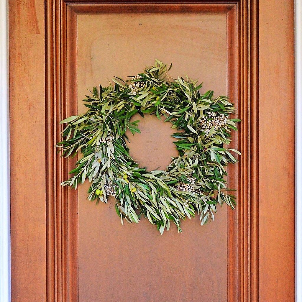 Fresh Olive Wreath | Christmas Wreath for Front Door | Front Door Wreath