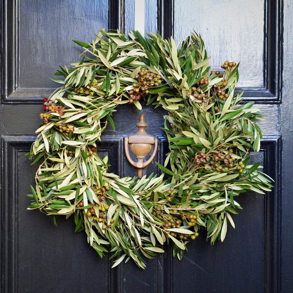 California Olive and Eucalyptus Pod Wreath - Club Botanic