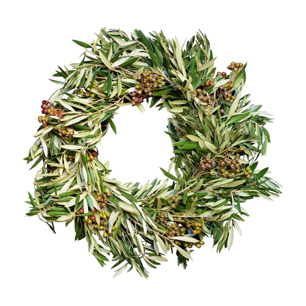 California Fresh Olive Wreath | Fresh Eucalyptus Pod Wreath | Green and White Wreath | Fall Wreath Olive | Autumn Wreath Olive and Eucalyptus