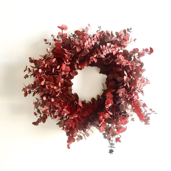 Rudolph Red Eucalyptus Wreath | Club Botanic | Red Christmas Wreath | Red Holiday Wreath | Red Eucalyptus Wreath | Dried Red Eucalyptus wreath