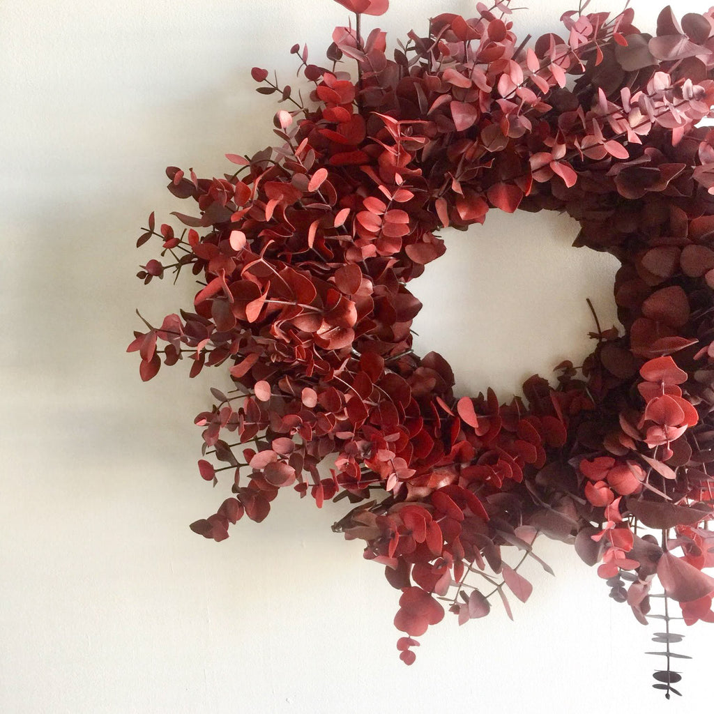 Rudolph Red Eucalyptus Wreath | Club Botanic | Red Wreath for Christmas | Red Wreath for Holiday | Red Door Wreath | Red Dyed Baby Eucalyptus | Eucalyptus Painted Red