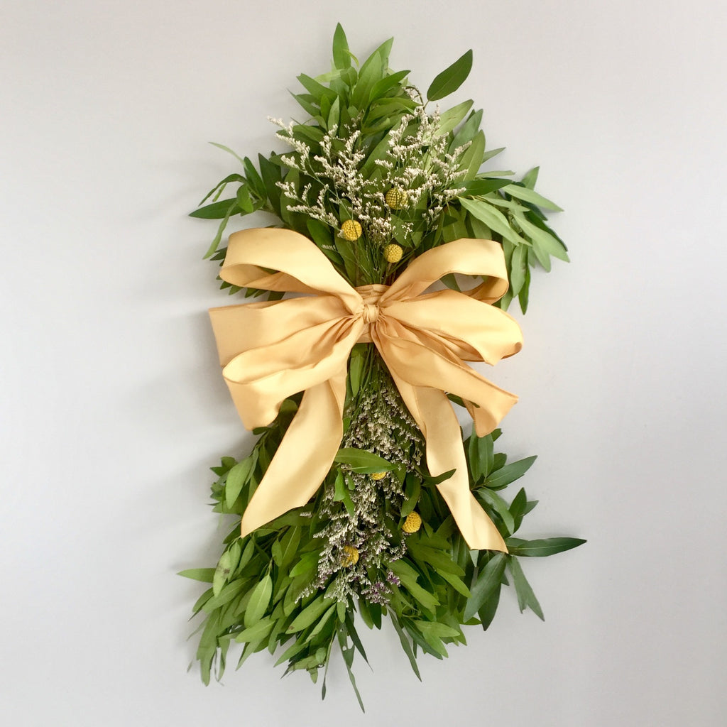 Door Wreath Swag Fresh | Bay Leaf Swag | Autumn Swag for the Door | Swag with Yellow Craspedia and Caspia
