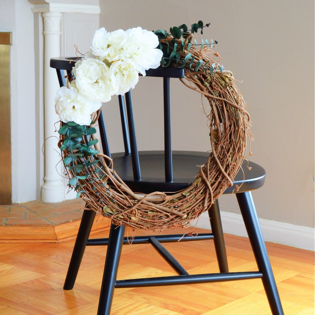 Peony Grapevine Wreath | Club Botanic | Faux Peony Wreath | Contemporary Door Wreath | Artificial Peony Wreath | Wreath Peonies Artificial