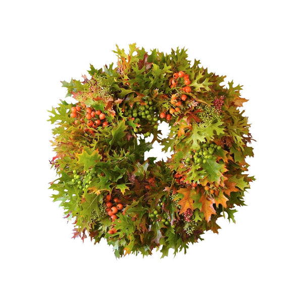 Pepperberry and Rosehip Wreath | Fresh Oak Wreath with Pepper Berries | Fresh Oak Wreath with Chinaberries | Thanksgiving Wreath with Rose Hips | Fall Colored Oak Leaf Wreath