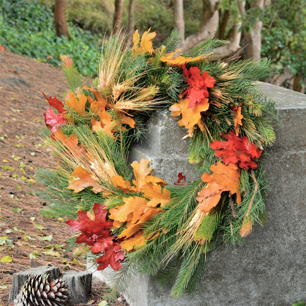 Sonoma Pine and Wheat Wreath | Club Botanic | Red and yellow oak wreath | Red Oak Wreath for Fall | Fall Wreath for Thanksgiving