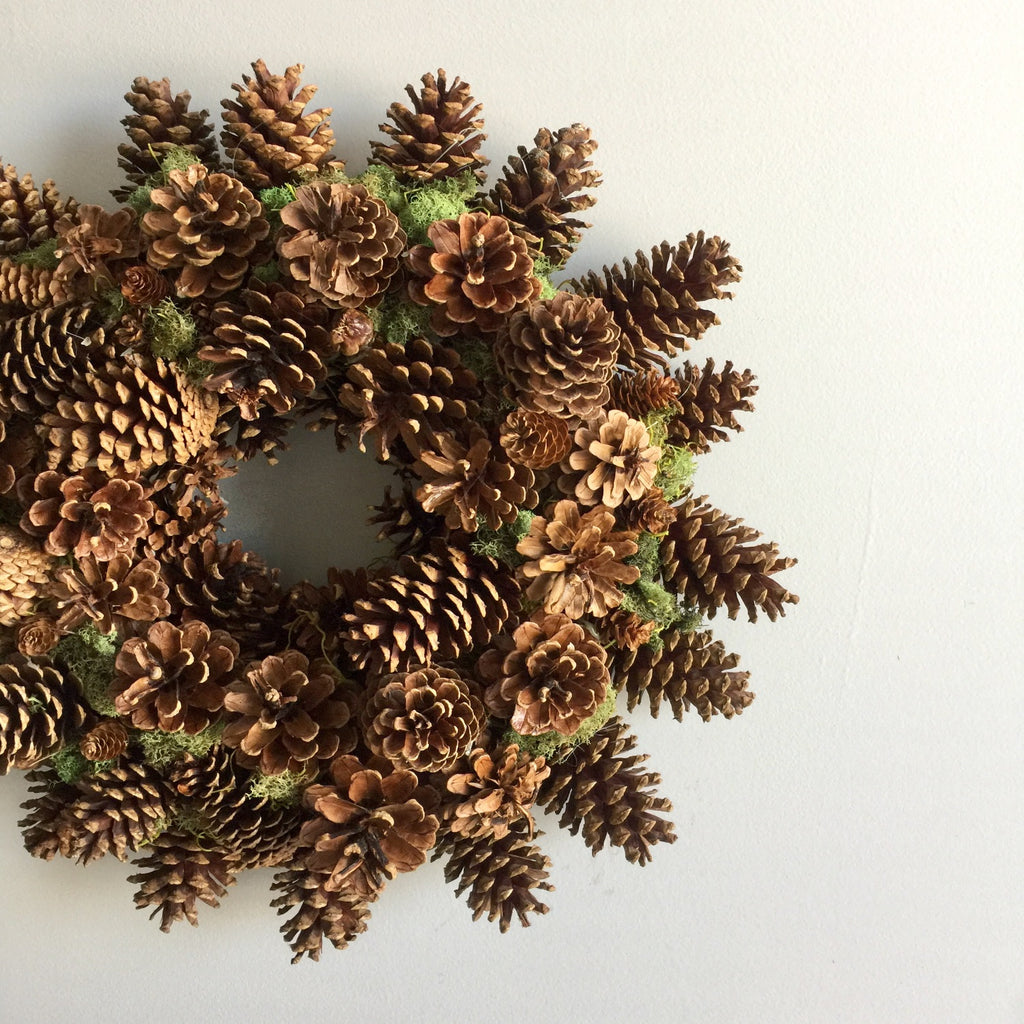Pine Cone Wreath Fall Time | Natural Pine Cone Wreath | Fall Pine Cone Wreath | Pine Cone and Moss Wreath | Pine Cone Wreath for Autumn with Spanish Moss