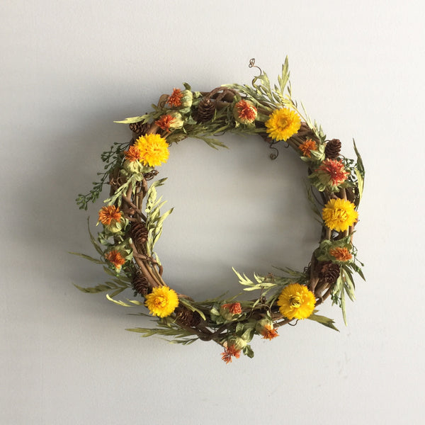 Dried Floral Wreath for Fall | Autumn Wreath Dried | Preserved Autumn Wreath with Florals | Pinecone Wreath | Grapevine Frame