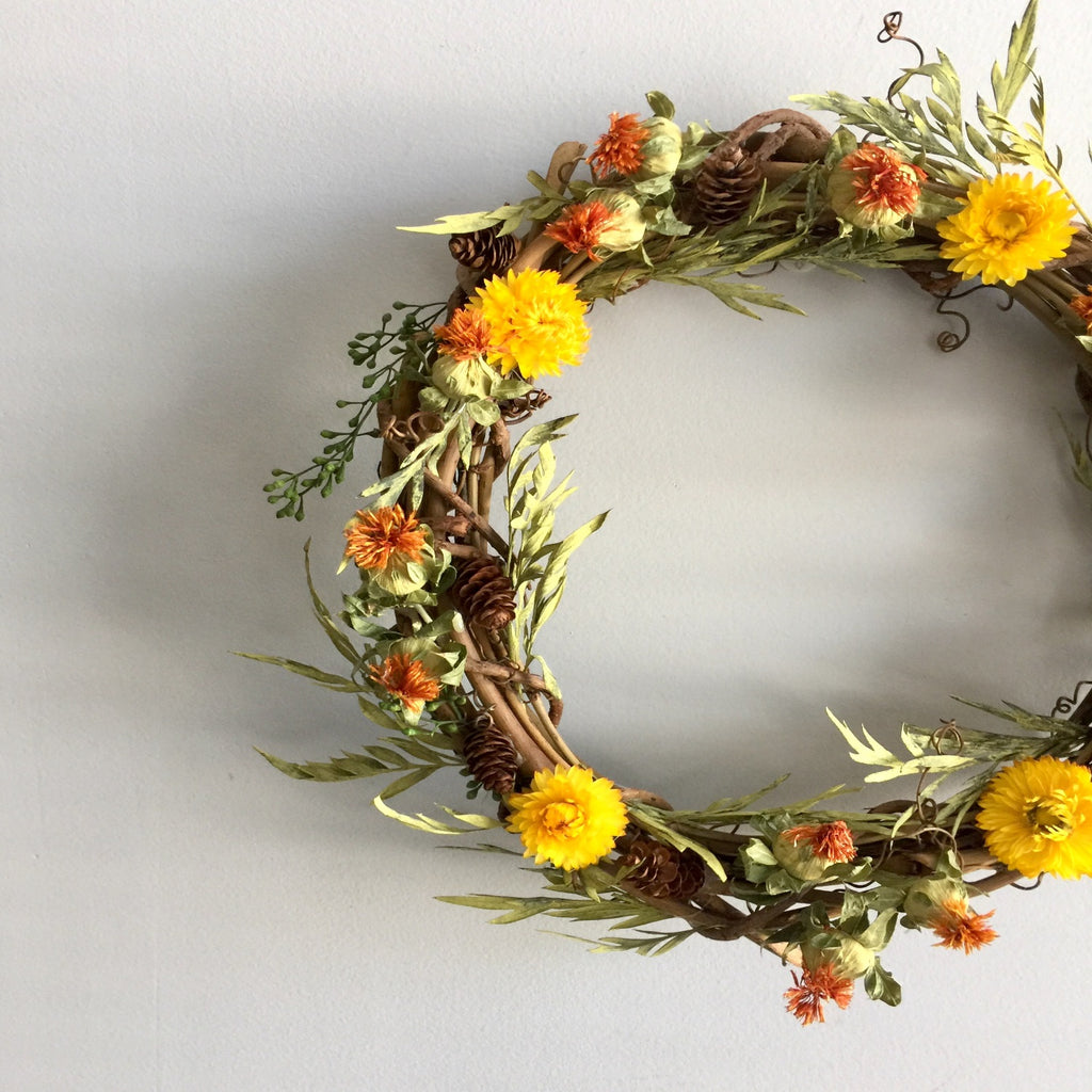 Preserved Safflower Door Wreath | Dried Strawflower Door Wreath | Grapevine Door Wreath Frame | Yellow Straw Flower Wreath | Preserved Grevillea Wreath | Housewarming Wreath