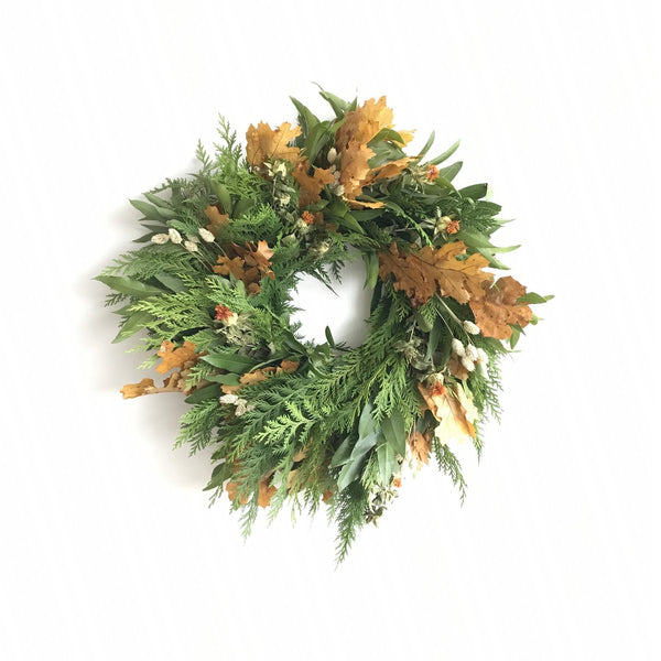 Presidio San Francisco Wreath | Cedar Wreath for Christmas | Dried Oak Wreath for Thanksgiving | Safflower Wreath | Bay Wreath for the Door
