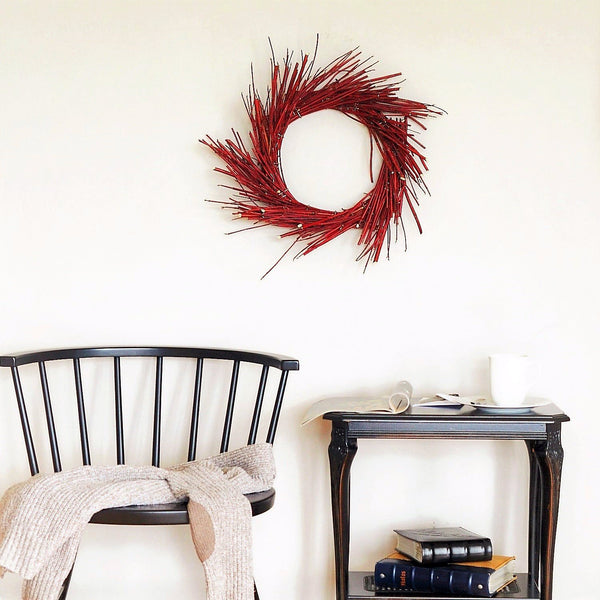 Red Dogwood Wreath | Red Wreath for Christmas | Red Holiday Wreath | Red Christmas Wreath