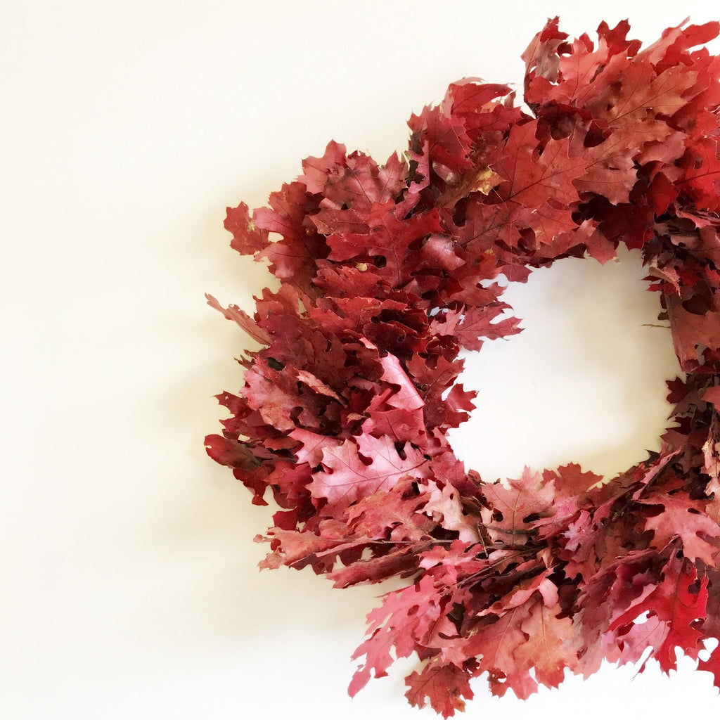 Red Oak Leaf Wreath | Club Botanic | Preserved Oak Wreath | Preserved Oak Leaf Wreath Red | Dried Oak Wreath | Dried Oak Leaf Wreath for Fall | Autumn Door Wreath Oak Crimson