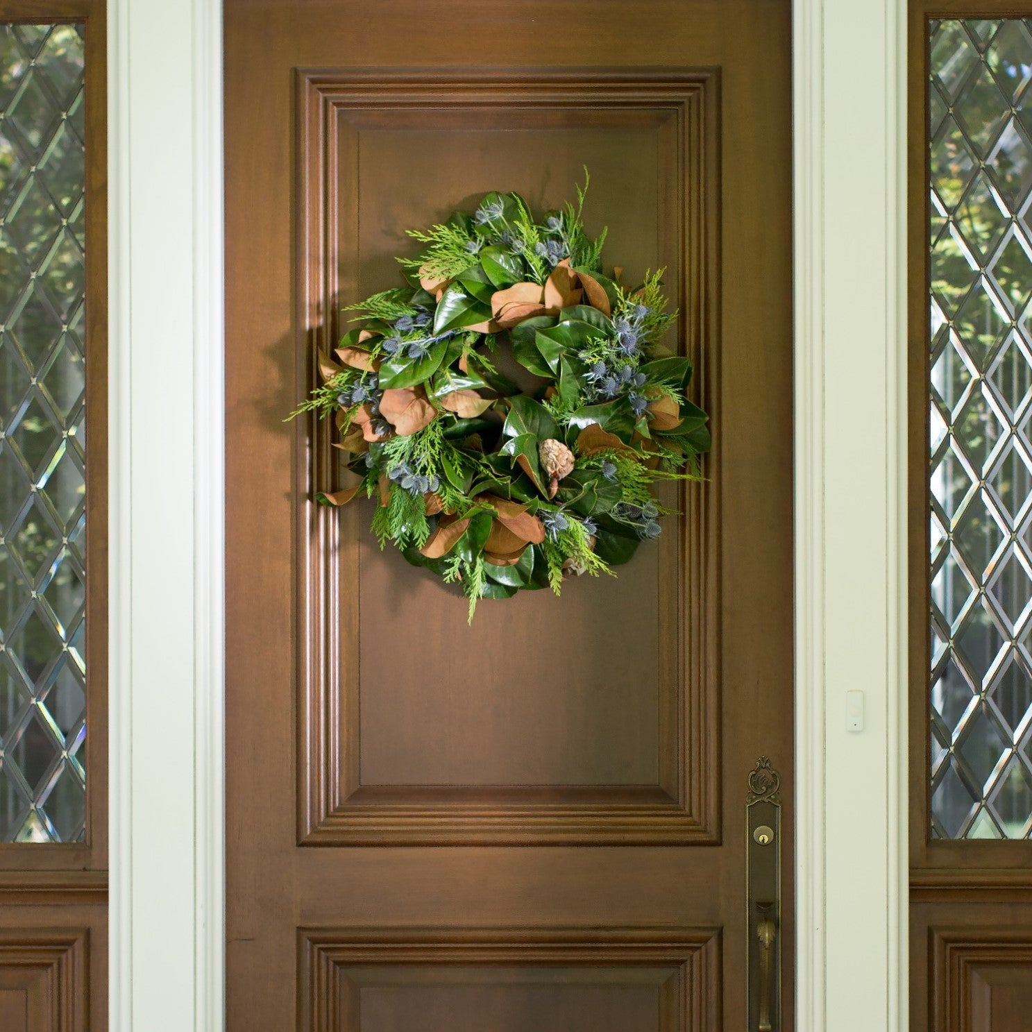 Magnolia Leaf Wreath Door Wreaths For Winter Winter Wreath