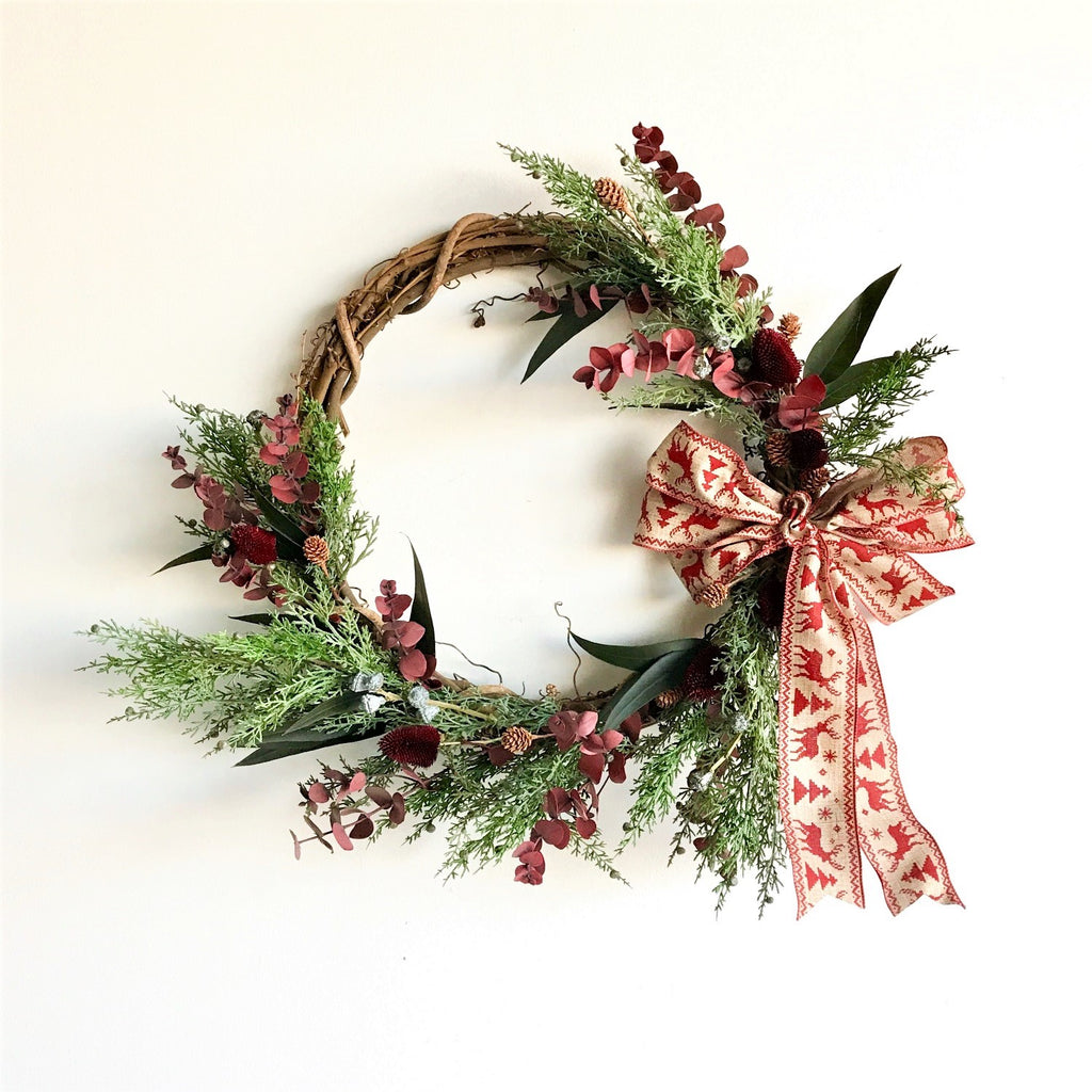 Santa Barbara Holiday Wreath | Crescent Wreath | Grapevine Wreath | Cedar Wreath | Red Eucalyptus Wreath