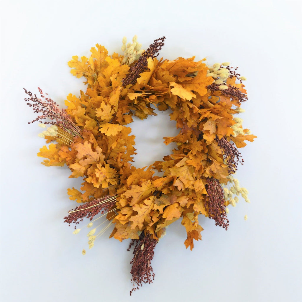 Santa Ynez Oak and Broom-corn Wreath | Fall Oak Wreath | Golden Oak Wreath for Fall | Preserved Oak Wreath