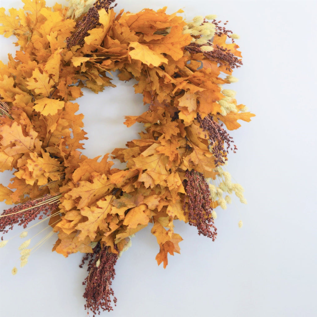 Dried Oak Wreath for Fall | Broomcorn Wreath for Fall | Broom Corn Wreath for Autumn | Floral Wreath Preserved for Fall