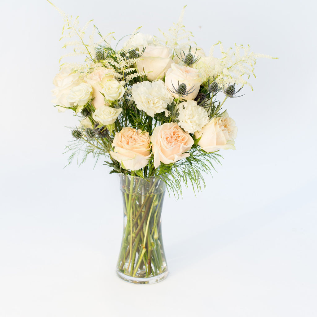 Pink Roses | White Carnations | Dianthus | Astible | Blue Thistle | Florist San Francisco