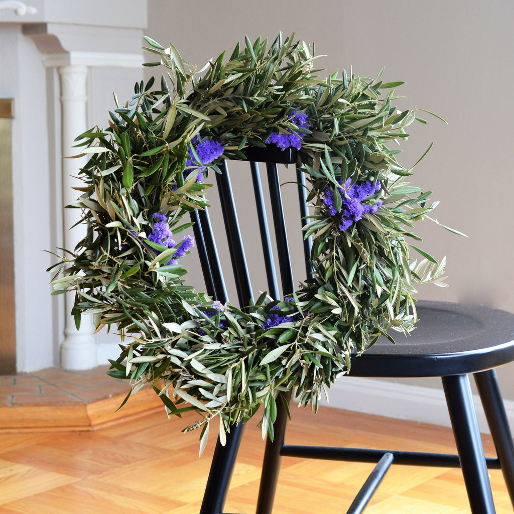 Sea Lavender and Olive Wreath | Club Botanic | Purple Statice Wreath | Wreath of Olive for Fall | Fall Wreath for Front Door | Sea Lavender Wreath | Olive Wreath for Wedding | Wedding Wreath Olive