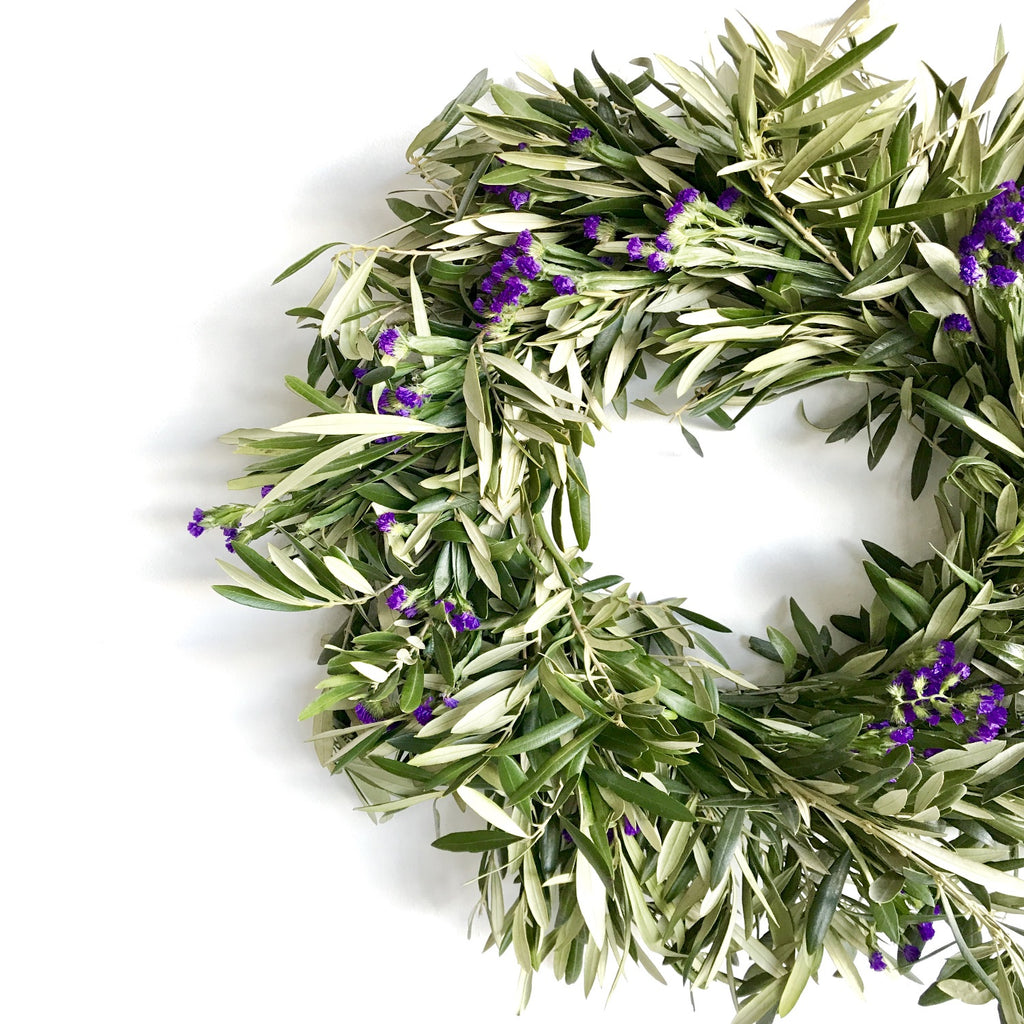 Seafoam Statice Wreath | English Statice Wreath | Fresh Olive Leaf Wreath