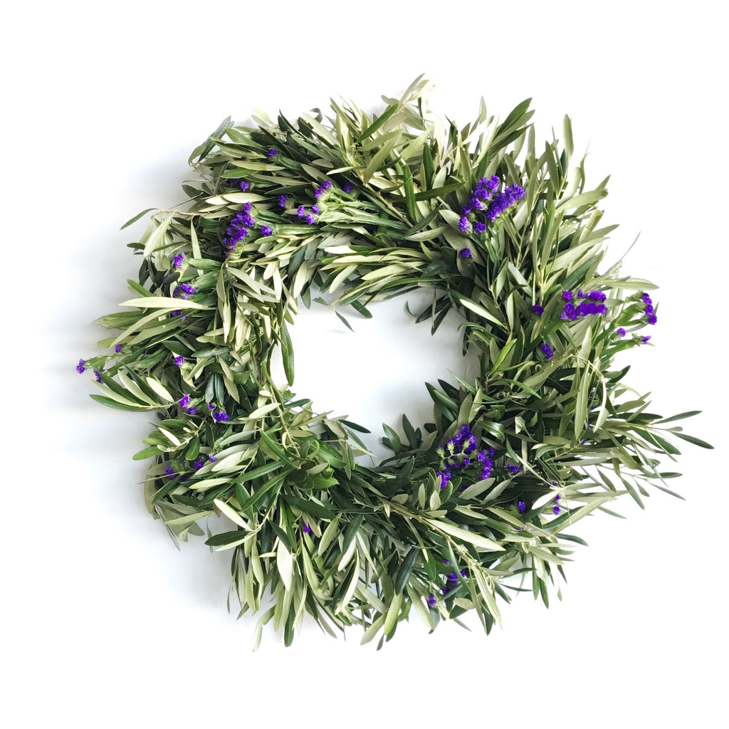 Purple Statice Wreath | Olive Wreath | Olive Branch Wreath | Olive Leaf Wreath | Violet Statice Wreath