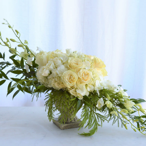 Yellow Roses | White Orchids | White Spray Rose