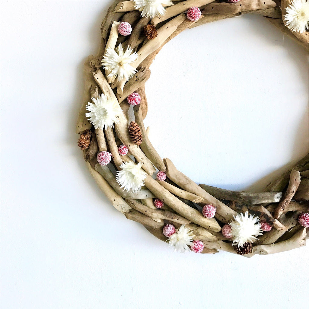 Smokey Mountain Christmas Wreath | Natural Wreath | Simple Christmas Wreath | Red and White Christmas Wreath