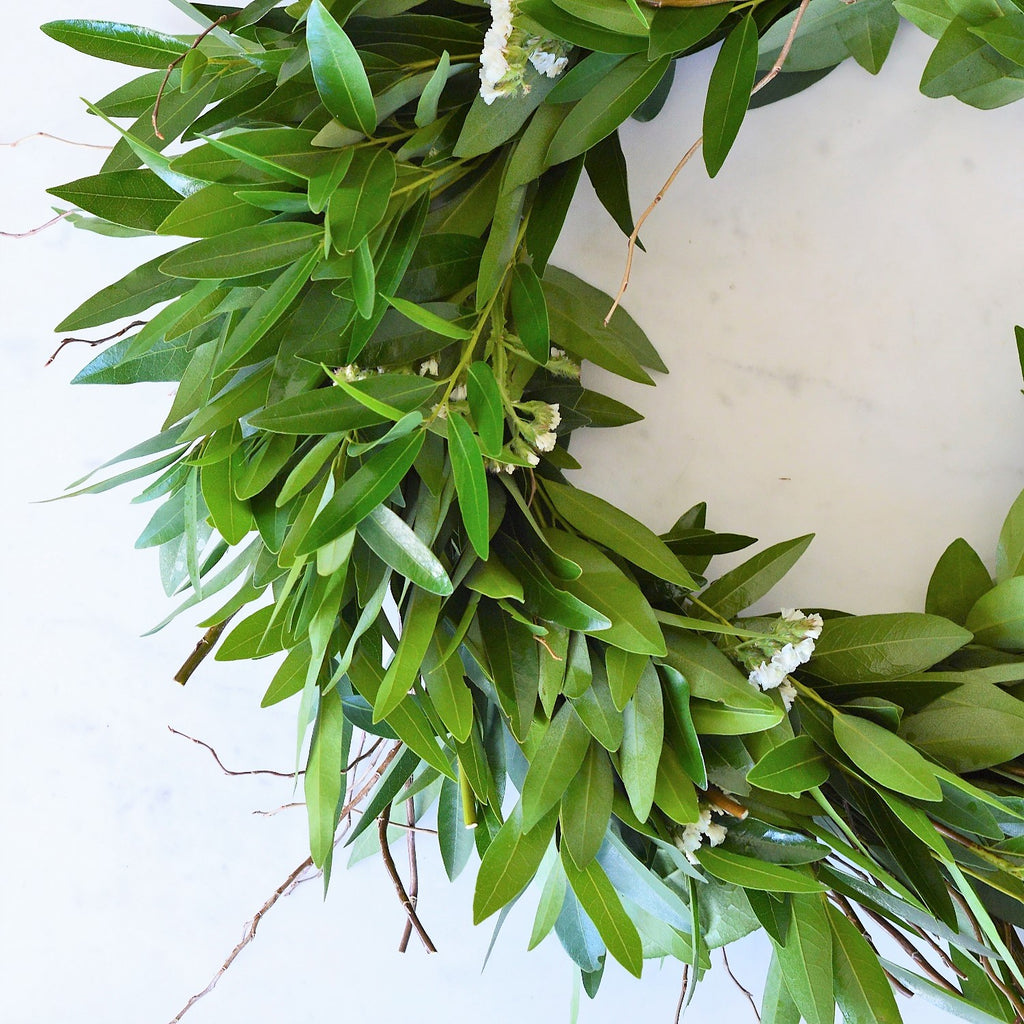 White Wreath | Fresh White Wreath | Fresh Bay Wreath with Dried Statice | Curly Willow Wreath Fresh