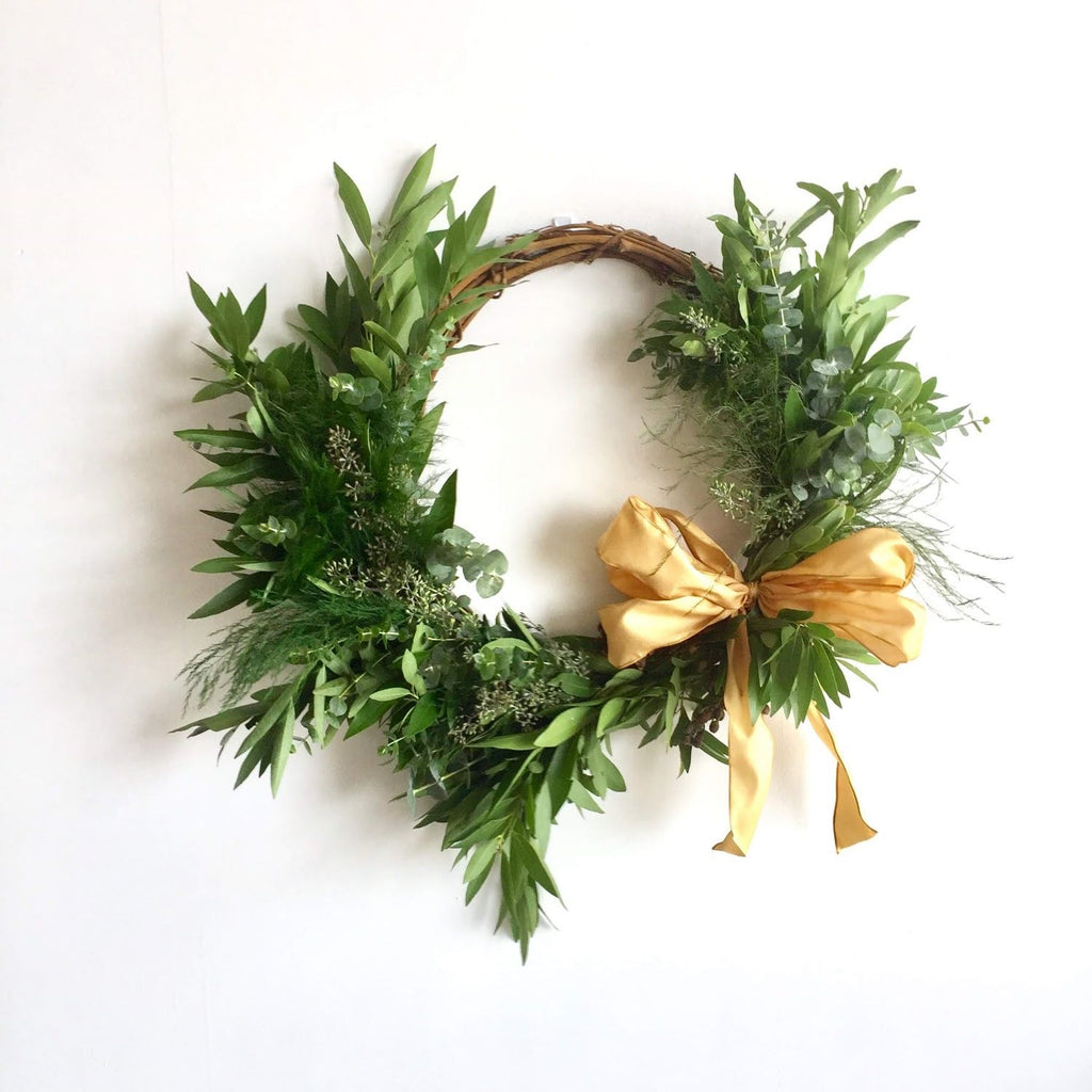St. Helena Grapevine and Bay Wreath | Club Botanic | Fresh Wreath for the Autumn | Fall Wreath for Door | Baby Eucalyptus and Bay Leaf Wreath for Autumn | Tree Fern Wreath for Autumn | Fresh Wreath for Autumn | Fresh Bay Wreath for Thanksgiving | Modern Wreath | Fresh Wreath Modern