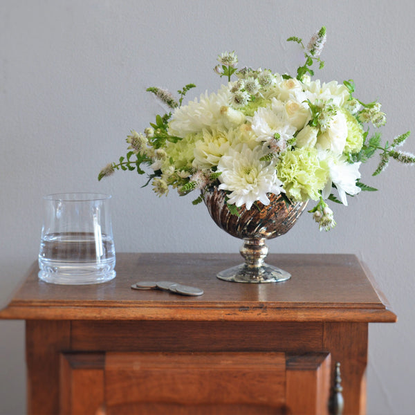 Dahlia Bouquet | White Dahlias | Roses | White Spray Roses | White Flower Arrangement | White Bouquet