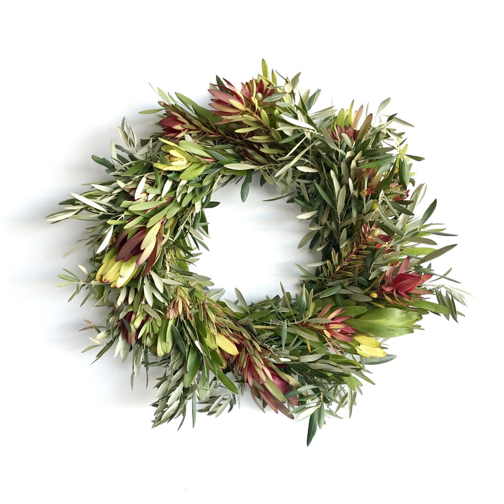 California Sunset Leucadendron Wreath | Club Botanic | Indoor Wreath Decor | Outdoor Wreath Decor | Multicolor Wreath for Fall | Multiple Color Leucadendron Wreath | Spring Wreath | Easter Wreath | Red and yellow wreath