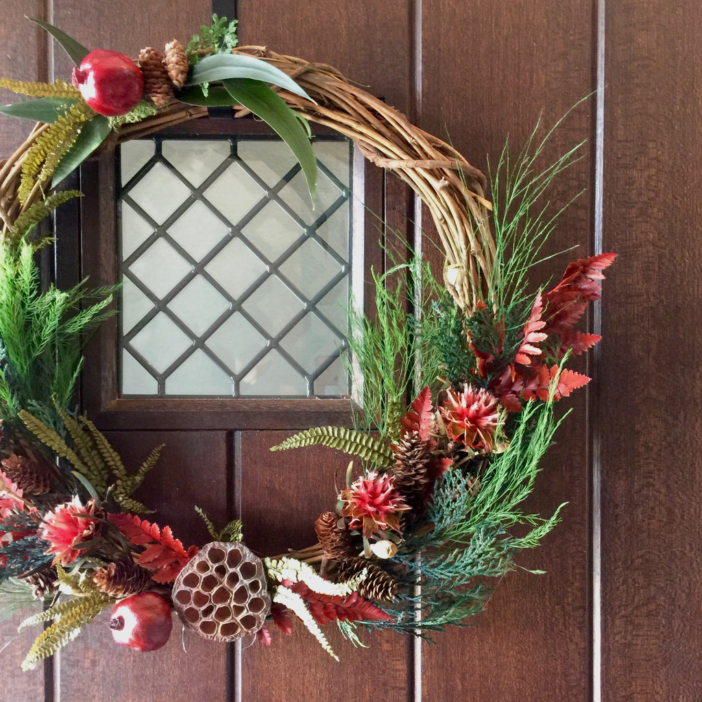 Holiday Red Leather Fern Wreath | Preserved Christmas Wreath | Red Wreath for Christmas | Pomegranate and Fern Wreath for Christmas | Eucalyptus Christmas Wreath for Front Door | Red Plumosum Wreath