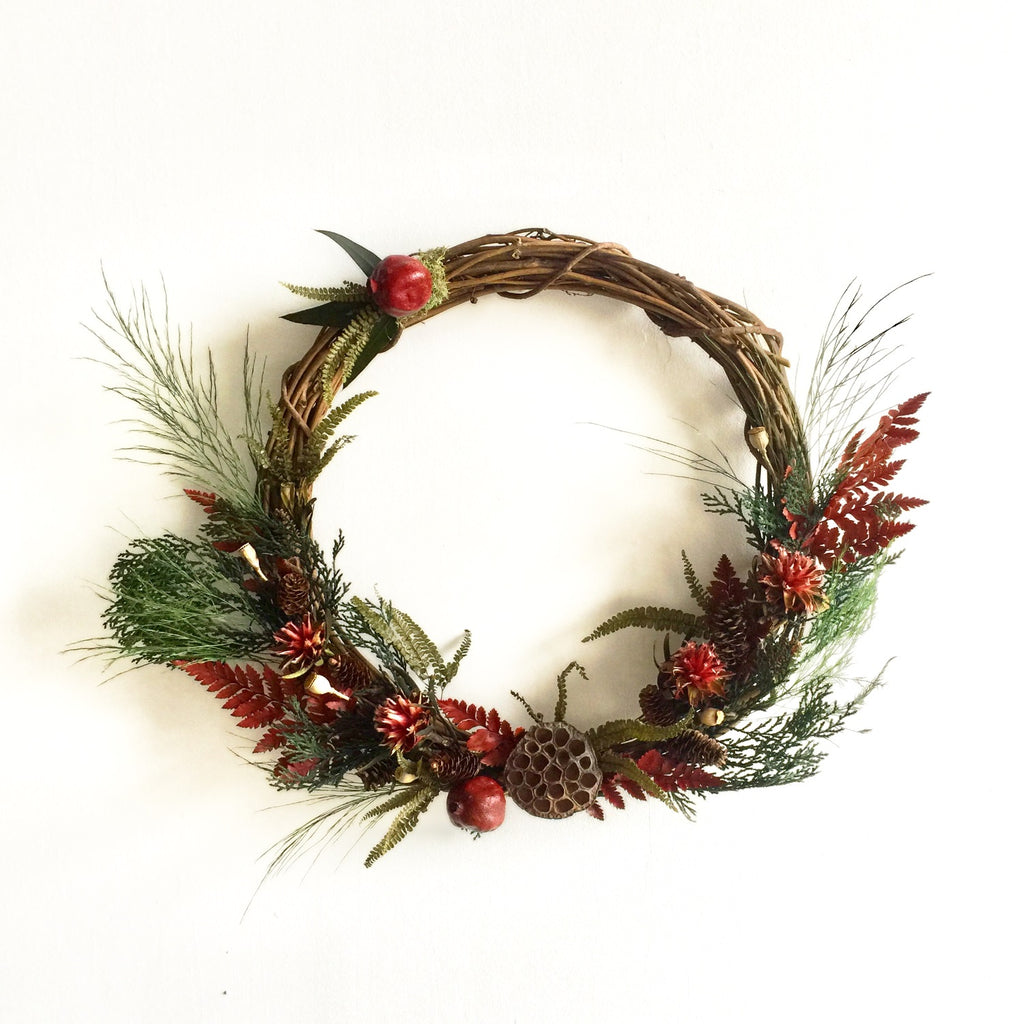 Grapevine Christmas Wreath | Pomegranate Wreath | Rustic Wreath | Holiday Wreath | Red Plumosum Wreath | Red Leather Fern Wreath | Lotus Pod Wreath
