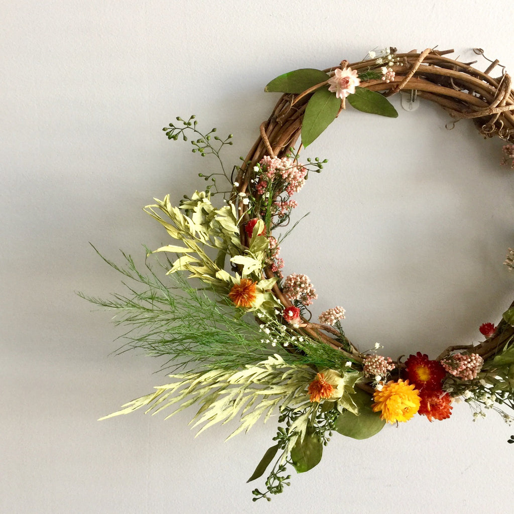 Fall Grapevine Wreath | Wreath for Year Round | Yellow and Orange Floral Wreath | Pink Flower Wreath | Dried Seeded Eucalyptus Wreath