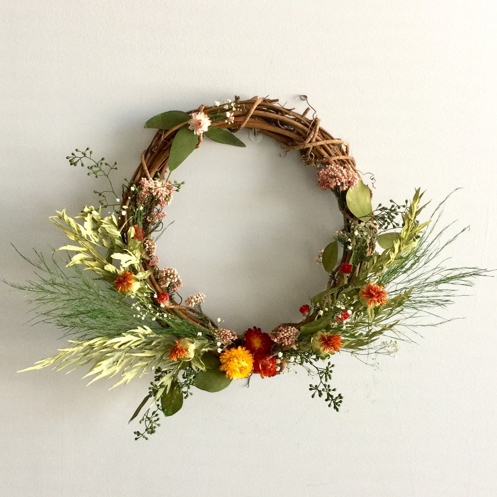 Grapevine Wreath | Safflower Wreath | Strawflower Wreath | Straw Flower Wreath | Preserved Wreath | Dried Door Wreath | Dry Door Wreath
