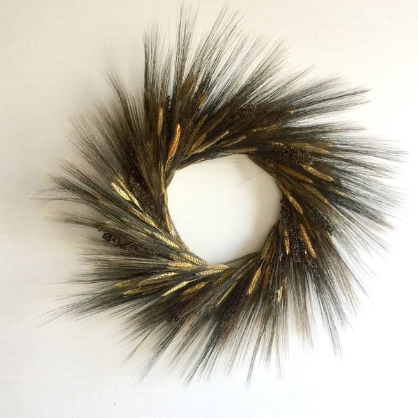 Wheat Field Nights Wreath | Wheat Wreath for Fall | Dried Wheat Wreath | Preserved Wheat Wreath | Black Wheat Wreath | Blond Wreath