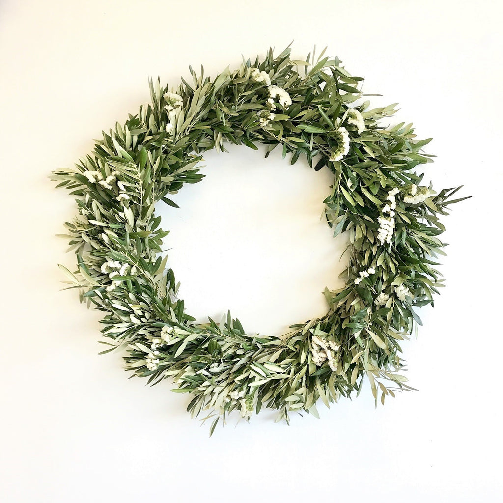 White Statice and Olive Wreath | Club Botanic | Statice Wreath for Fall | Wreath Statice | Wreath Olive | Fresh Olive Wreath | Fresh White Statice Wreath | Wedding Wreath | Wedding Door Wreath | White Wreath for Wedding