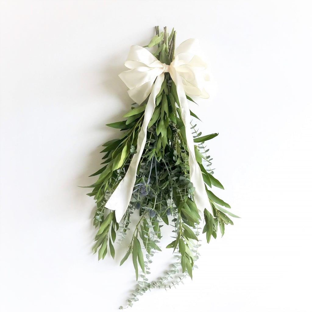 Bay and Thistle Swag | Club Botanic | Door Swag for Fall | Fall Bay Leaf Swag with White Bow | Swag Wreath | Baby Eucalyptus Swag | Blue Thistle | Bay Leaf