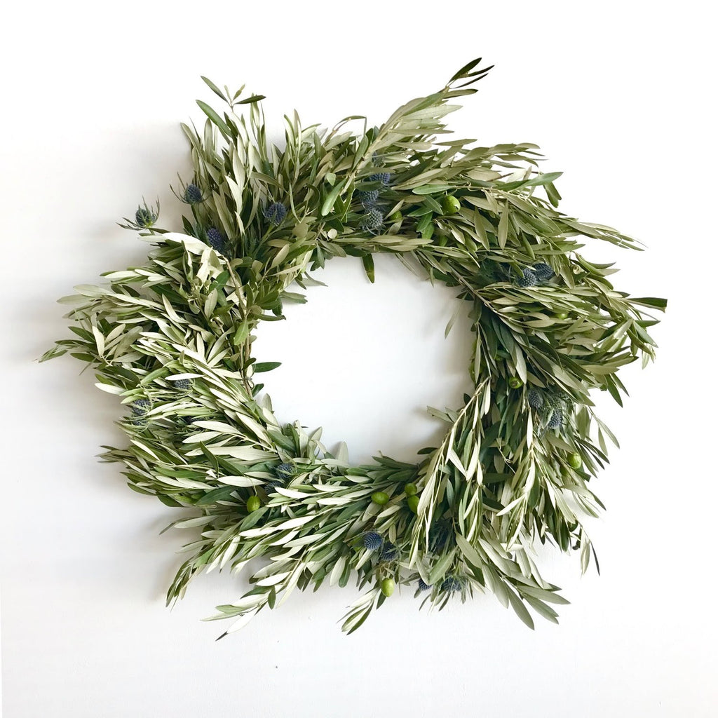 Olive Wreath Autumn | Thistle Wreath Autumn | Olive Wreath Fresh | Thistle Wreath Fresh | Door Wreath for Autumn