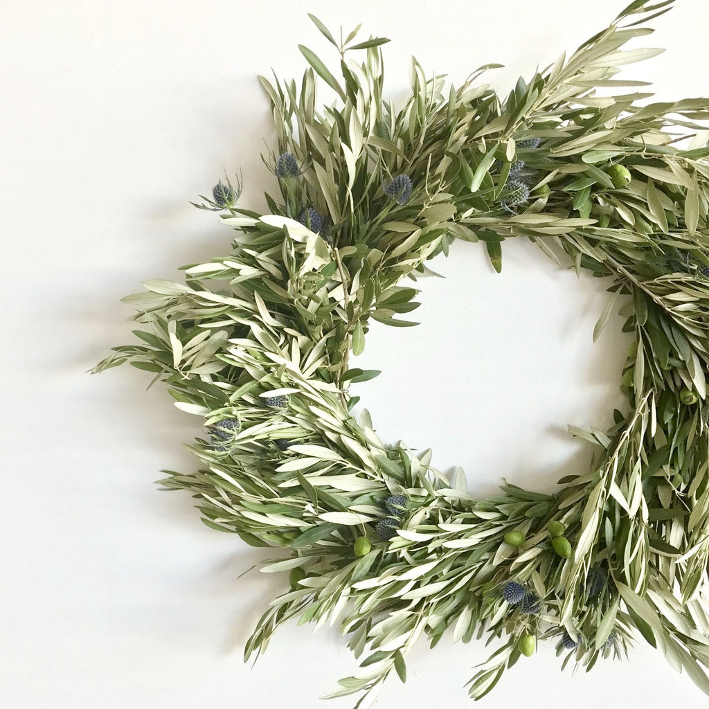 Blue Thistle and Olive Wreath | Club Botanic | Fall Wreath of Olive | Fall Wreath of Thistle | Fresh Fall Wreath | Fresh Wreath Fall